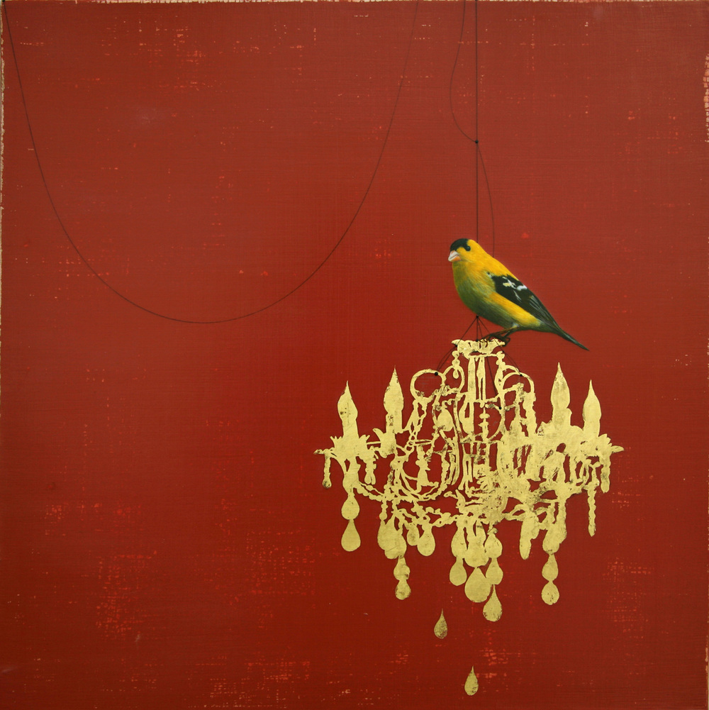 Goldfinch on chandelier#101