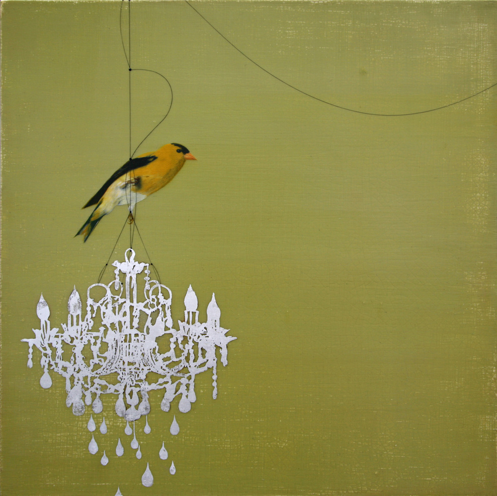 Goldfinch on chandelier#102