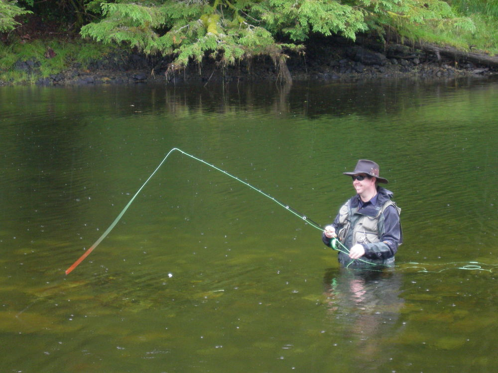 An 8 weight fly rod is advised for fishing silver salmon in the sloughs.