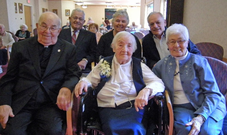 Sister Mary Hermine Deveau, surrounded by family members, celebrated her 100th birthday at Maristhill Nursing Home in Waltham, Massachusetts on October 20th, 2015.