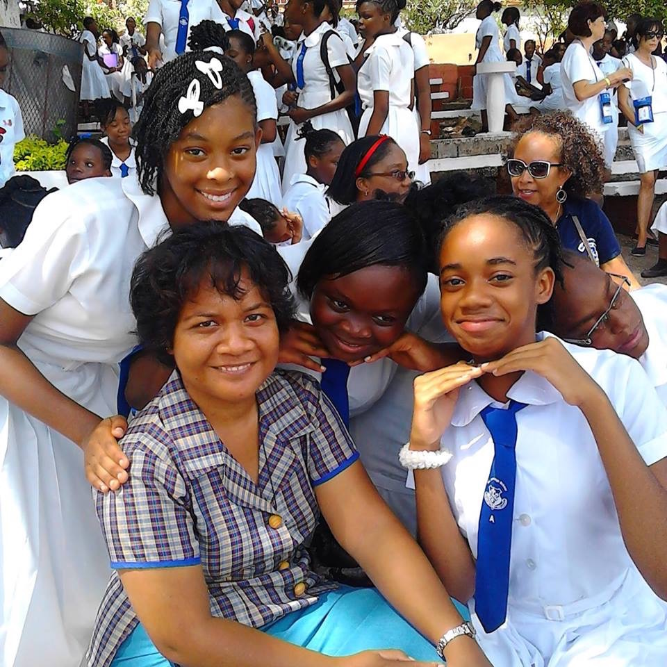 Sister Rabunna Bakineti, from Kiribati, with students she's been teaching at Mt Alvernia High School in Montego Bay, Jamaica. Sister has now moved to Kingston to begin her Masters Degree in Counseling at MICO University.