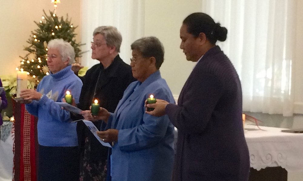 The new Regional Leader, Sister Mary Jane Kenney, with her Council, Sisters Joyce Ann Edelmann, Telesia Kauhalaniua, and Helen Muller.