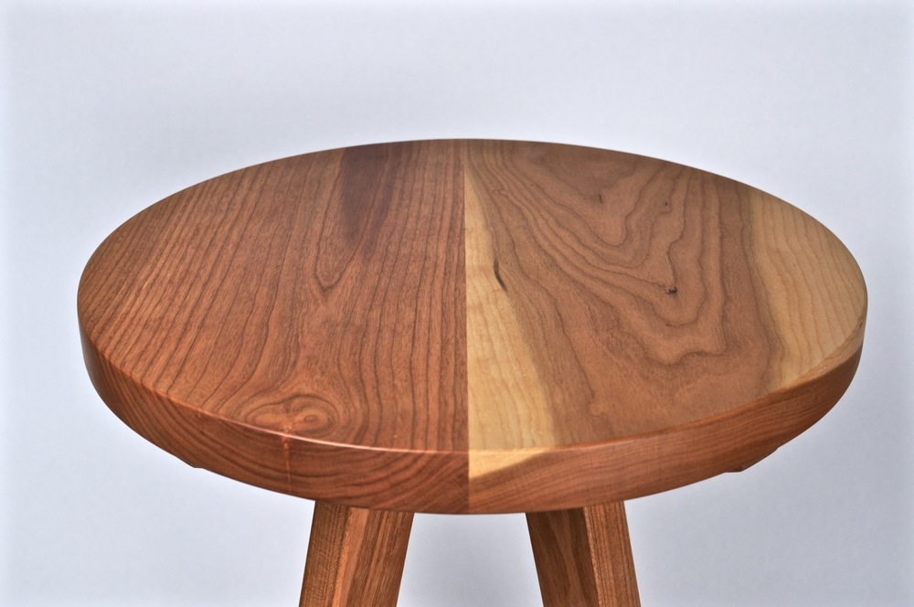 Cherry stool. Fabricated by McCurdy. 2015. Designed by Makeville, Brooklyn. Danish oil.