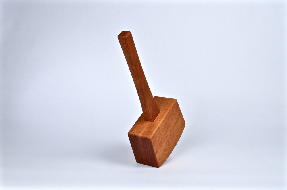 Cherry mallet. Fabricated by McCurdy using exclusively hand tools. 2015. Design by Makeville Brooklyn. Tung oil.