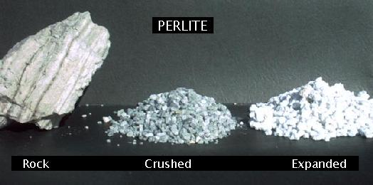 from left: crude perlite ore, crushed perlite ore, and expanded perlite