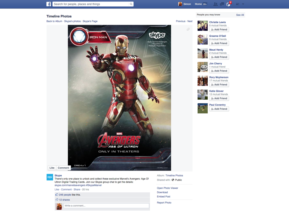 The Iron Man card was released on Skype's Facebook page.