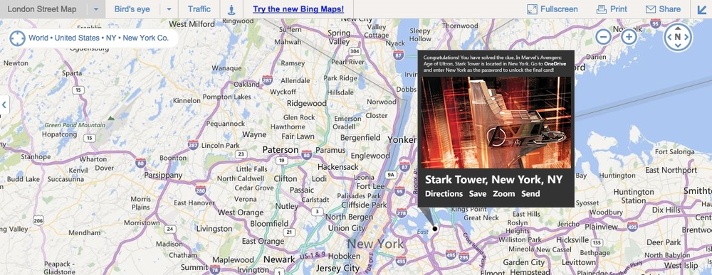 The group card was unlocked by users solving the clues hidden on the previous cards. Each card held a part of a map co-ordinate. When assembled and placed into Bing Maps, this code gave the fans the password to a locked folder in One Drive. The first to share a screengrab of the card in the group chats won a custom made prize.
