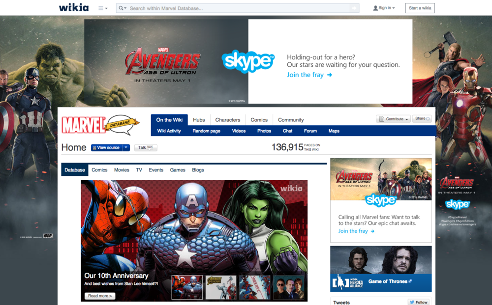 Marvel Wikia Database takeover - targeting the real fans. Other promotional assets included Skype social takeovers, social posts and targeted emails to the Skype database.