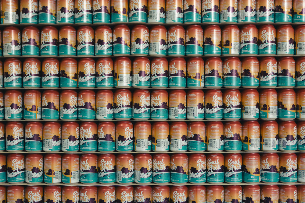 Soul Arch cans ready to be filled at Harbour Brewery