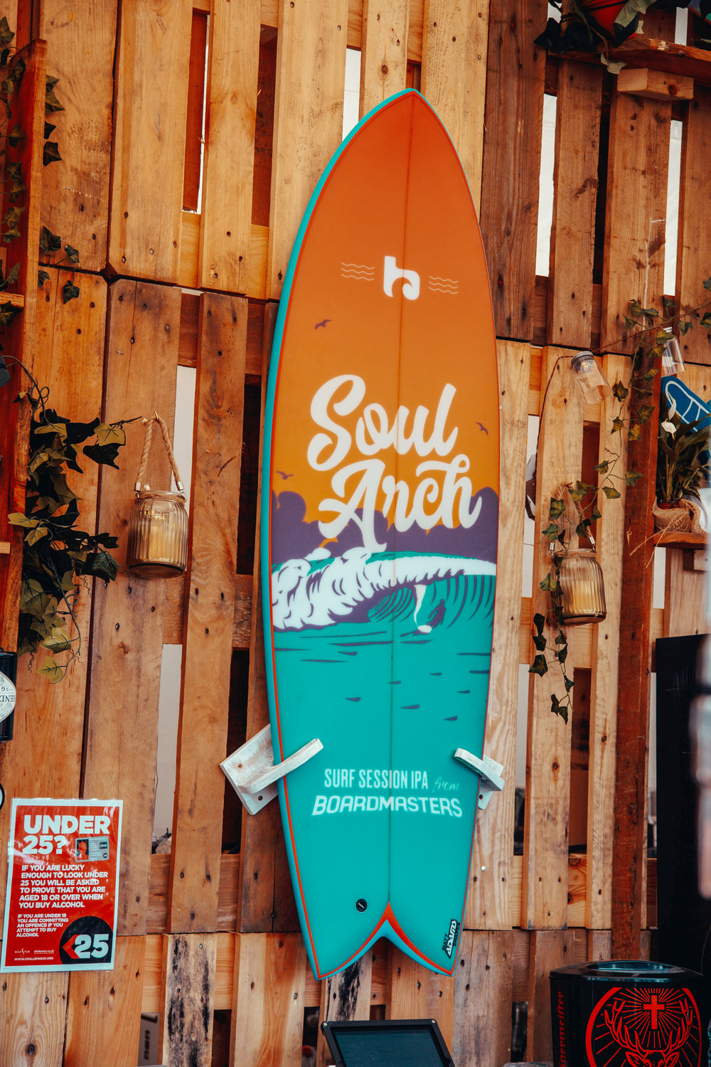 Soul Arch surfboard mounted in Fistral Beach Bar at Boardmasters 2017