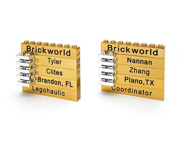 Brickworld badges. Customize your own at http://www.brickengraver.com.