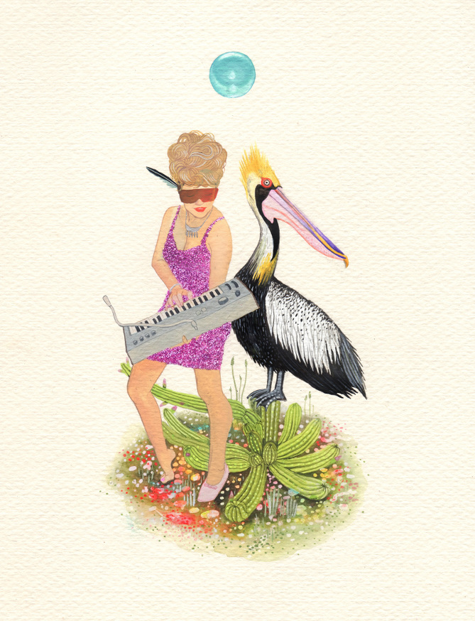 Perfect as a Pelican,Gouache and Glitter on paper,2015.