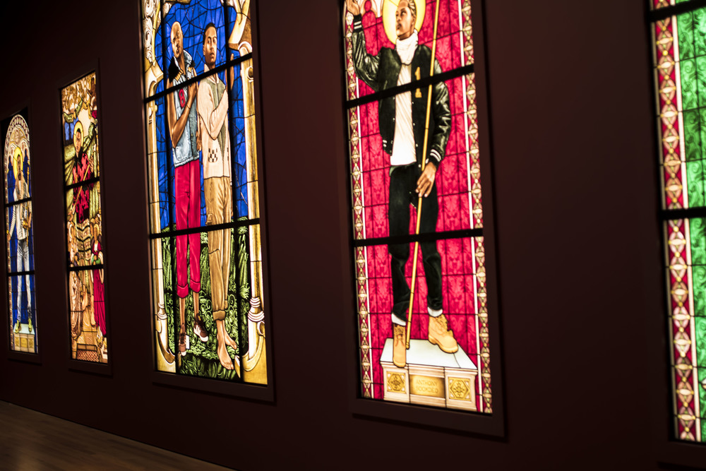 A collection of Wiley's stained glass pieces