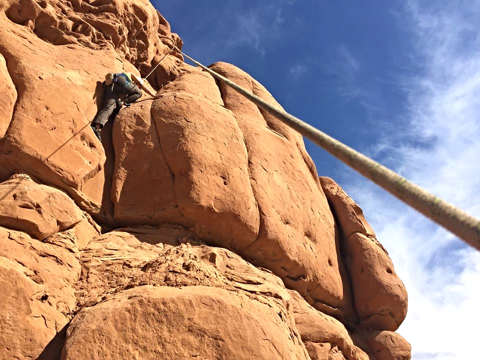Photo by Michael Auffant - 5.9 route on Dirty Devil Tower
