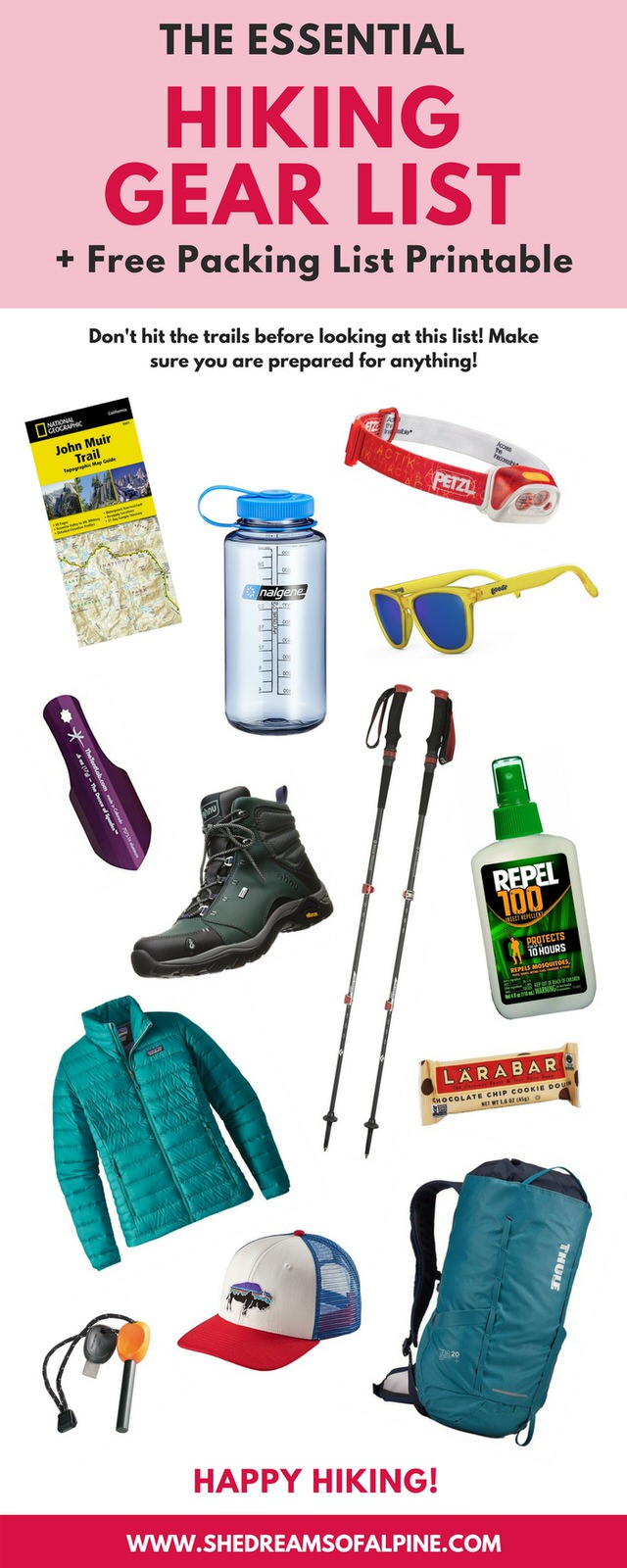 Hiking doesn't need to be overwhelming! In this post I've created a comprehensive packing list for essential hiking gear. Post includes free gear list printable for easy reference.