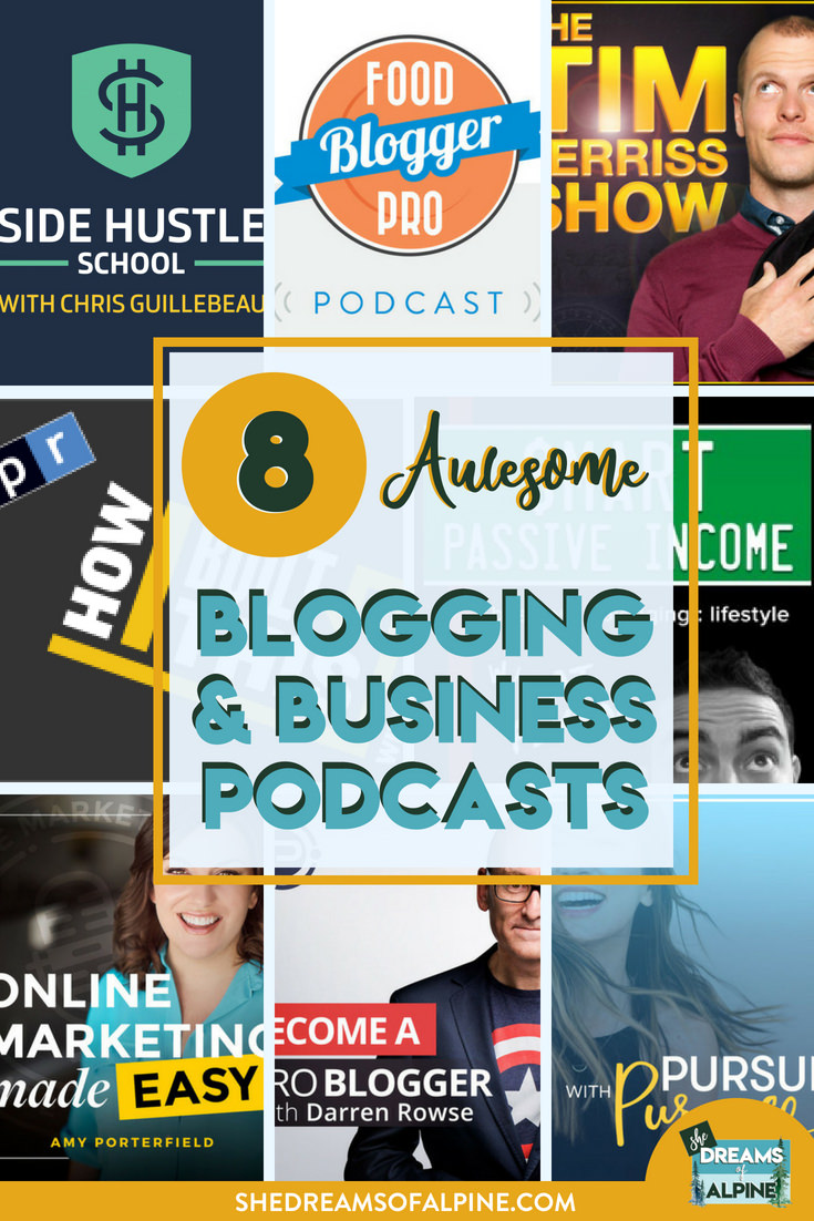 8 Awesome Podcasts for Entrepreneurial and Blogging Inspiration | I wanted to share 8 of my favorite podcasts that I listen to in my spare time to help inspire me to keep fighting the good entrepreneurial fight.What makes a successful online business? What are the experts saying to focus on? How can I grow?If you are looking for some inspiration for your own blog or business whether it be specific advice on a topic or just overall inspiration, check out the podcasts detailed in this post. | shedreamsofalpine.com