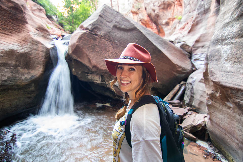 Small waterfall right above Kanarra Falls after climbing the first ladder