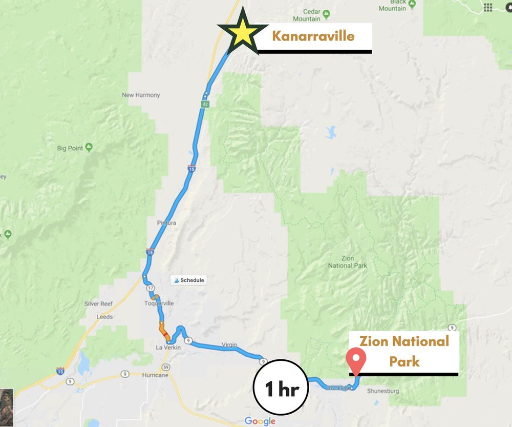 Distance from Zion National Park to Kanarraville, Utah.