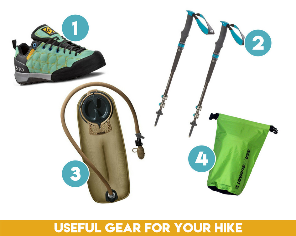 Useful gear for the Kanarra Creek Trail hike.