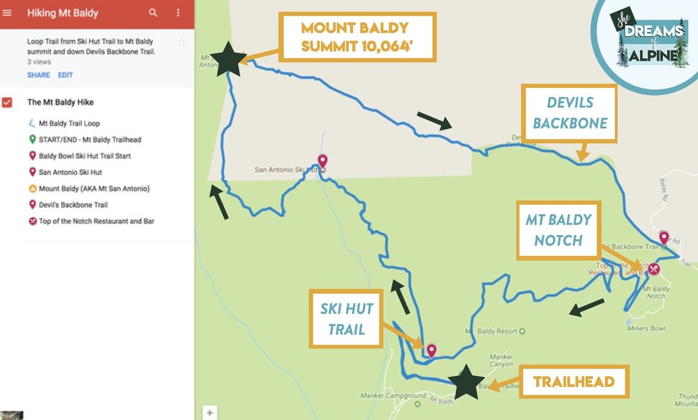 Map of the Mount Baldy 11 mile loop.