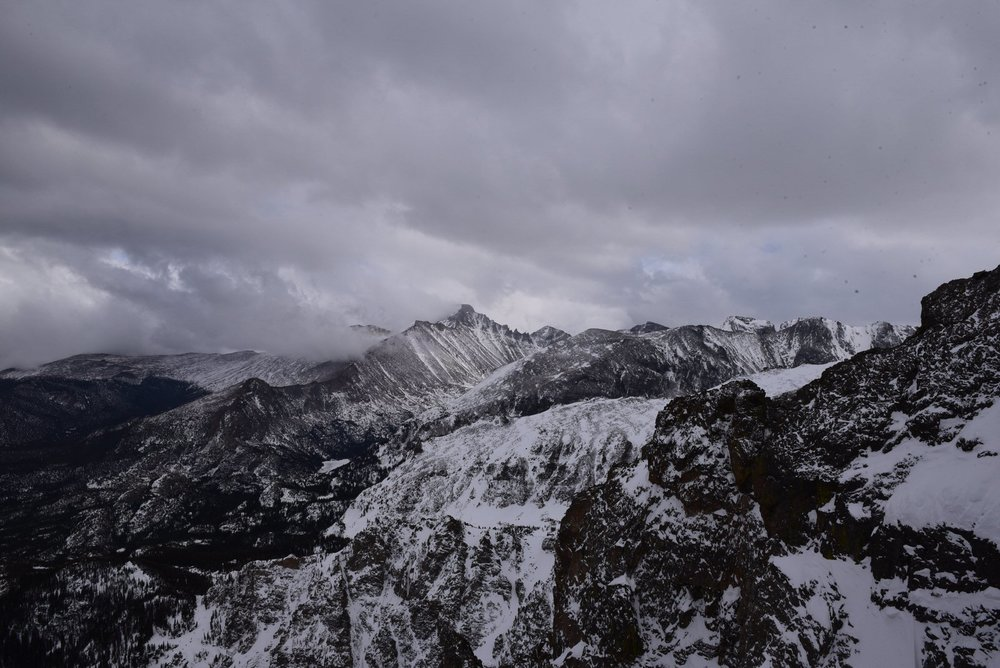 View from the top of Flattop Mountain in the winter.