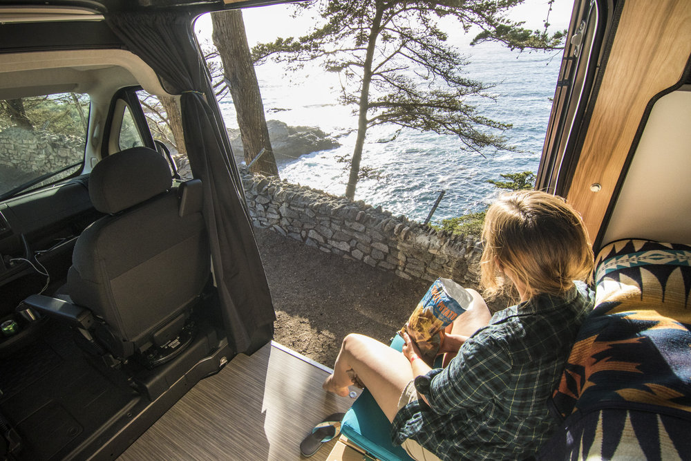 Enjoying the view from our campervan at Big Sur.