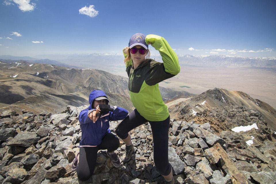 Striking a power pose on the summit of White Mountain Peak California.