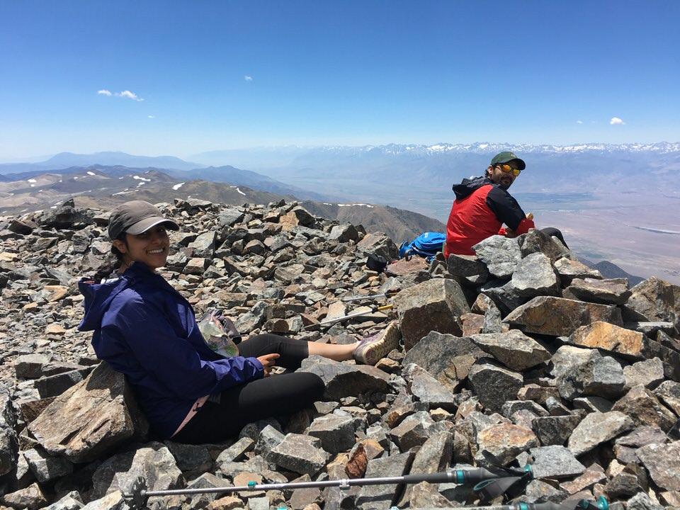 Enjoying the White Mountain Peak summit views.