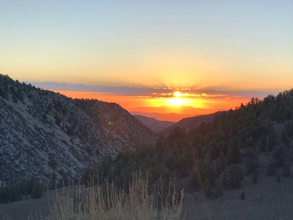 Beautiful sunrise on our way up to White Mountain trailhead.