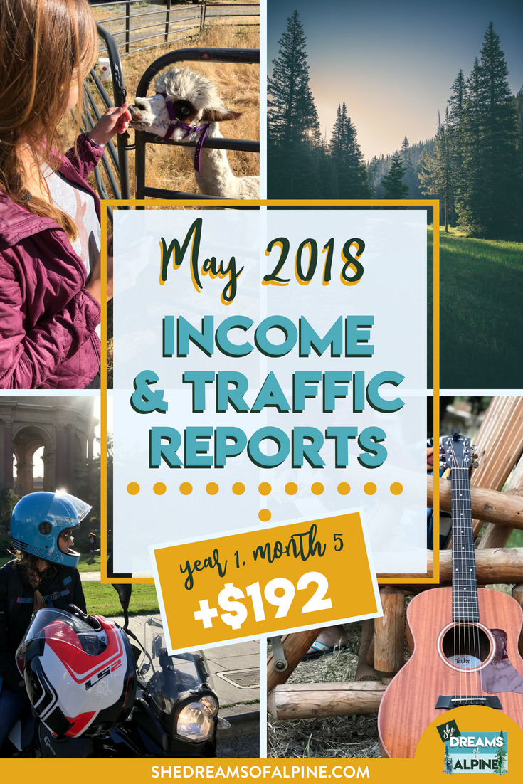 Blog Traffic and Income Report for May 2018  |  A monthly report on the She Dreams of Alpine Blog income and traffic. We are in the beginning stages of monetizing our blog to try and help us pay off our student loans. This post will detail what kind of work we put into the blog and the steps we are taking to bring in more traffic and income.| shedreamsofalpine.com