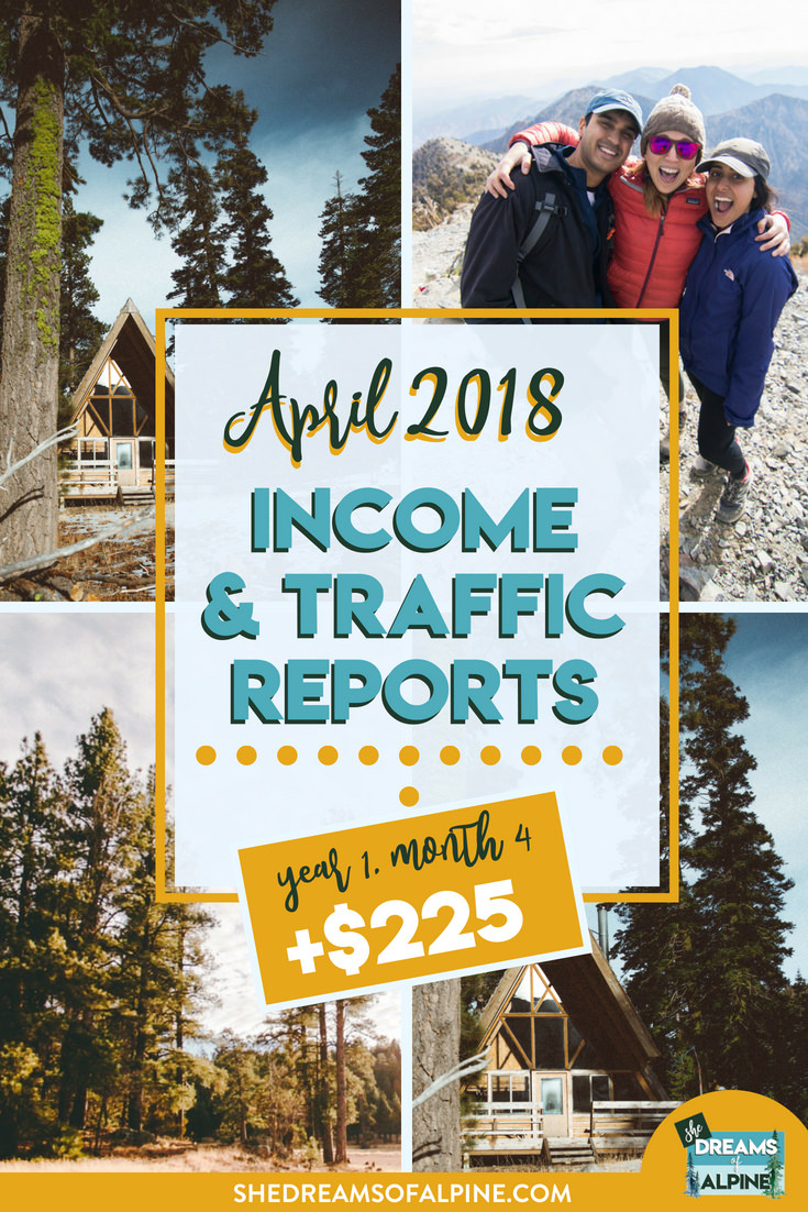 Blog Traffic and Income Report for April 2018  |  A monthly report on the She Dreams of Alpine Blog income and traffic. We are in the beginning stages of monetizing our blog to try and help us pay off our student loans. This post will detail what kind of work we put into the blog and the steps we are taking to bring in more traffic and income.| shedreamsofalpine.com