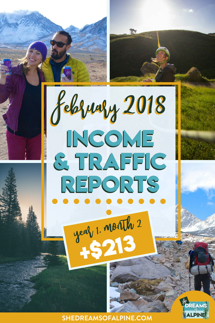 Blog Traffic and Income Report for February 2018  |  A monthly report on the She Dreams of Alpine Blog income and traffic. We are in the beginning stages of monetizing our blog to try and help us pay off our student loans. If you want to follow us along on this journey, this post will detail what kind of work we put into the blog and the steps we are taking to bring in more traffic and income. If this is something you're interested in, come learn with us on our journey! | shedreamsofalpine.com