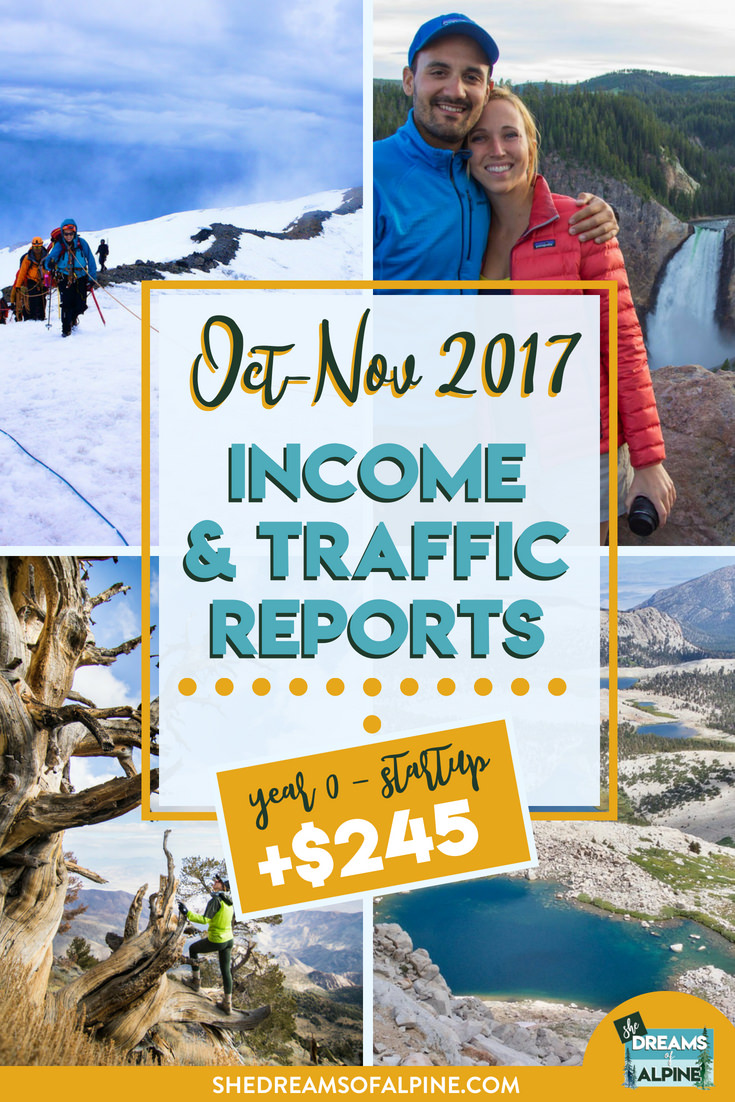 Blog Traffic and Income Report for October & November 2017  |  A monthly report on the She Dreams of Alpine Blog income and traffic. We are in the beginning stages of monetizing the blog to try and help us pay off our student loans. If you want to follow us along on this journey, this post will detail what kind of work we put into the blog and the steps we took to bring in more traffic and income. If this is something you're interested in, come learn with us on our journey! | shedreamsofalpine.com