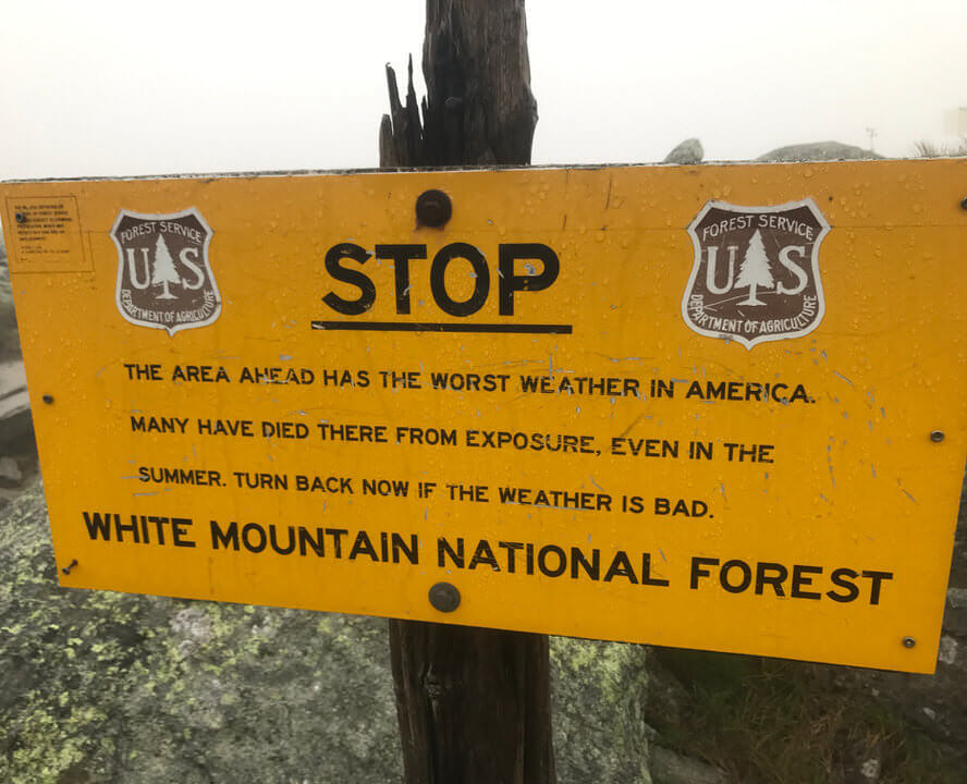 Sign on the Appalachian Trail warning hikers about the bad weather.