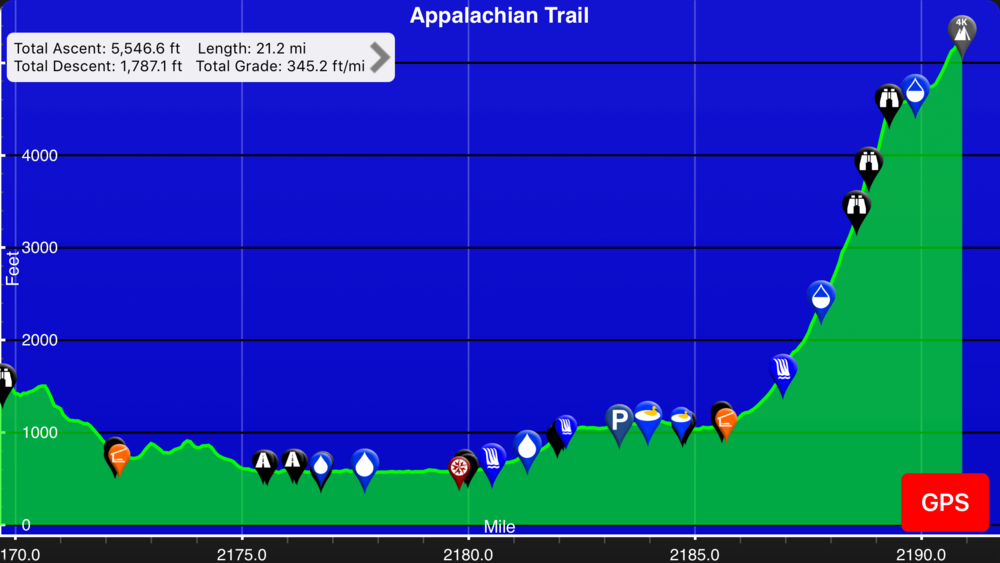 Screenshot of Guthooks App on the Appalchian Trail.