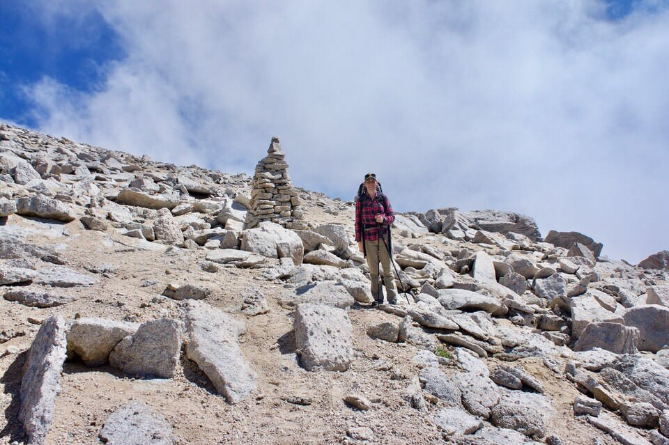 Giant cairn stones mark the path to the summit on Mt Langley.