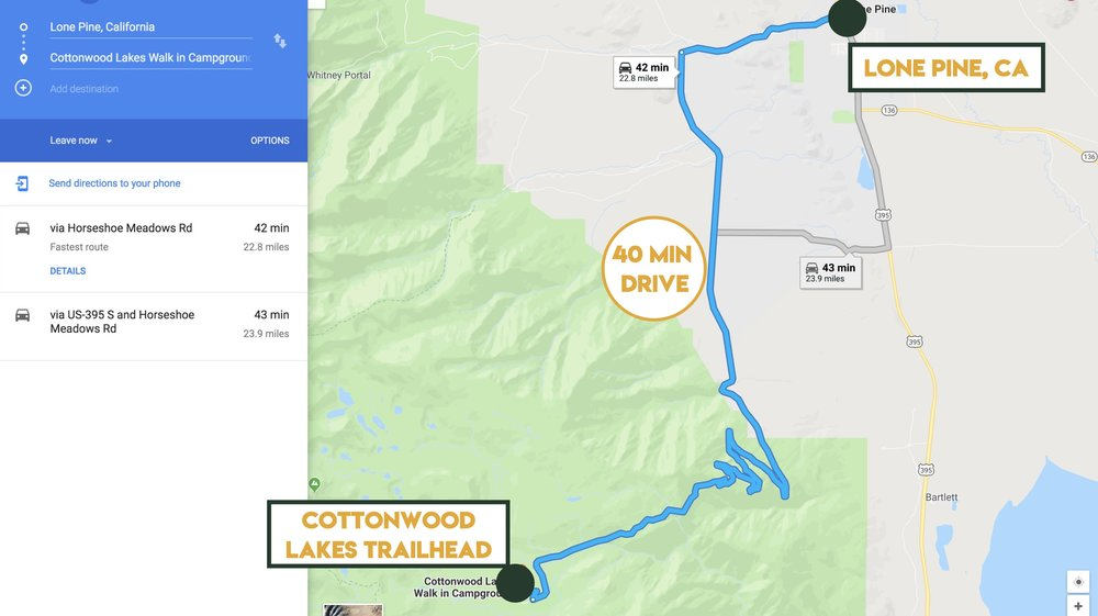 Driving directions from Lone Pine to Cottonwood Lakes Trailhead Campground.
