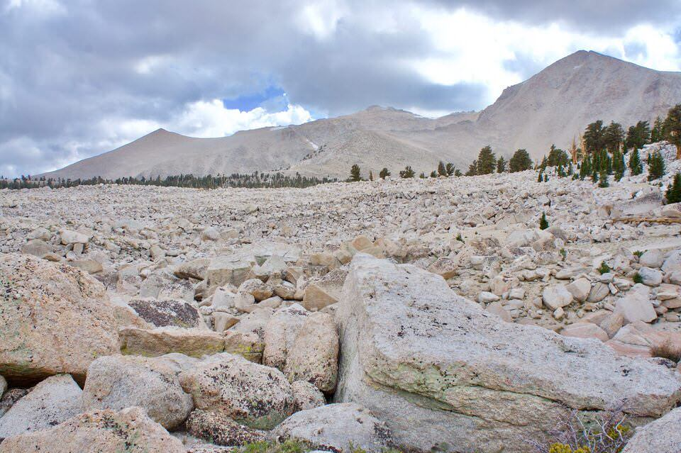 Boulder field on the cottonwood lakes trail.