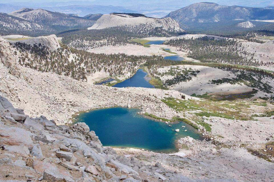 View of all the Cottonwood Lakes from the top of New Army Pass.