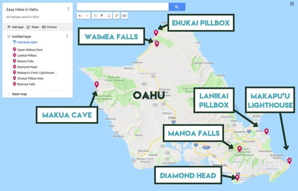 Map showing the location of the best easy hikes in Oahu