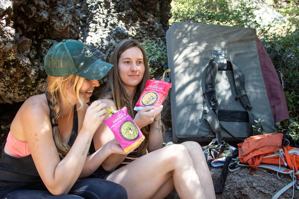 We love too take the dals on bouldering trips with us because we don't have to cook them.