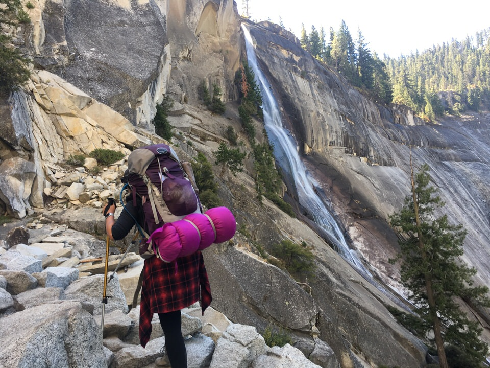 Hiking up the Mist Trail to the top of Nevada Falls in Yosemite National Park.