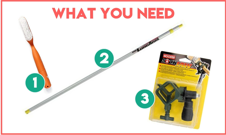The supplies you need to create this homemade extendable climbing brush.