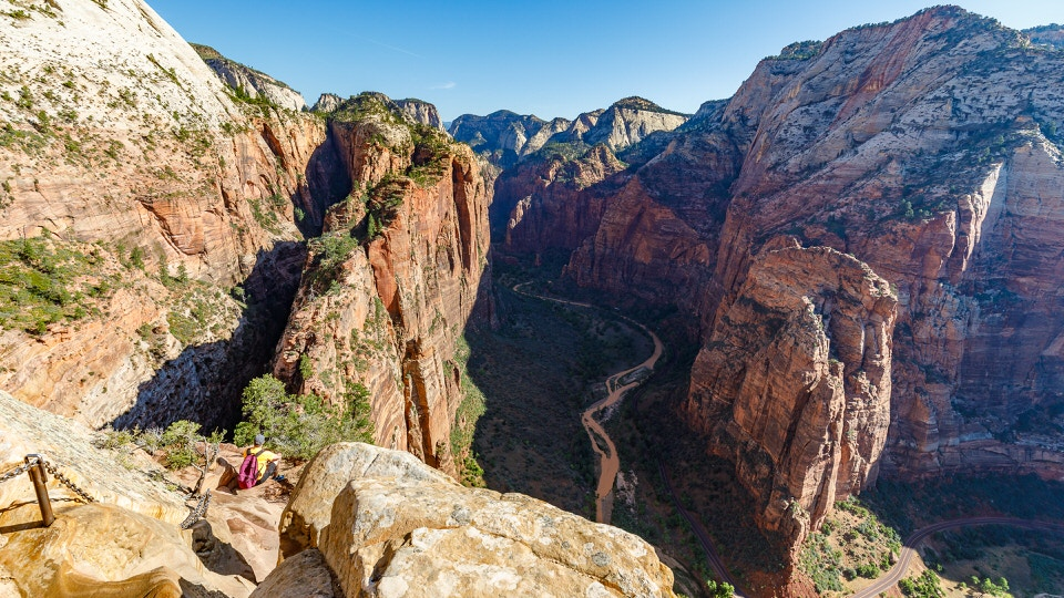 View looking down the chains from Angels Landing.