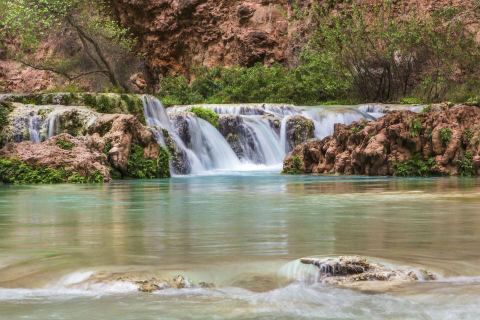 Small waterfall along the Havasupai Falls Hike Trail.