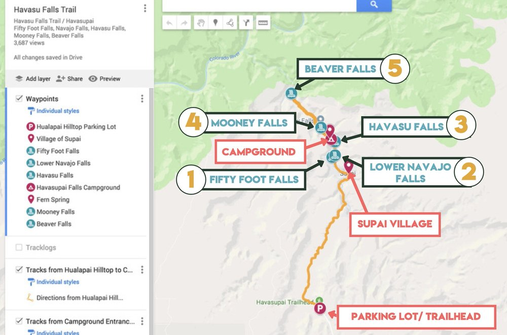An interactive map showing the Havasupai Falls Trail hike in Detail.