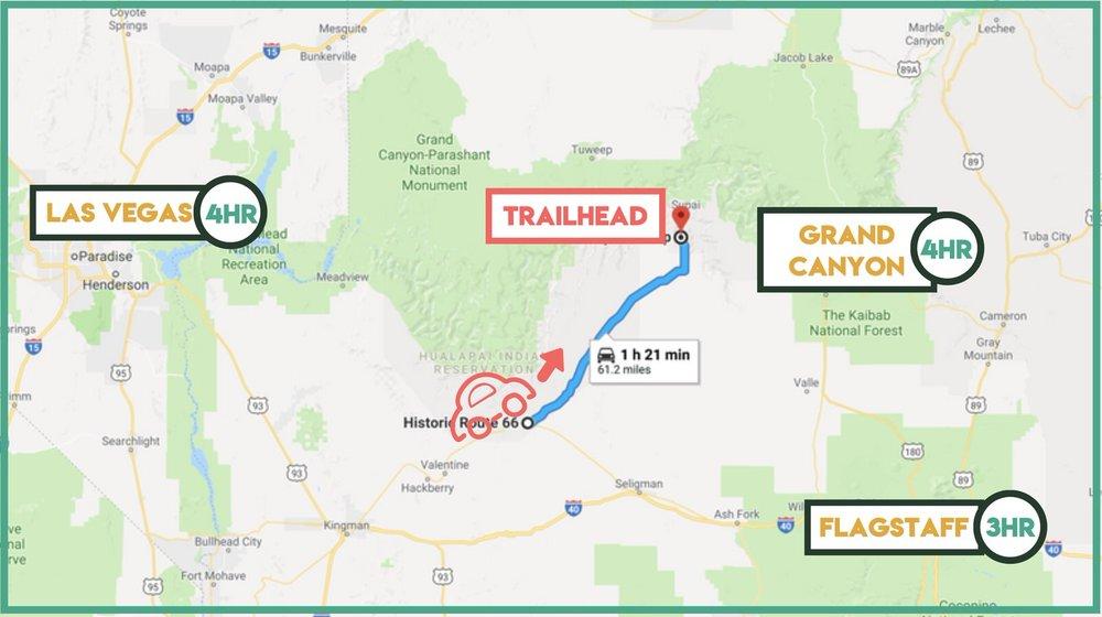 Driving time estimates to get to Havasu Falls Trailhead.