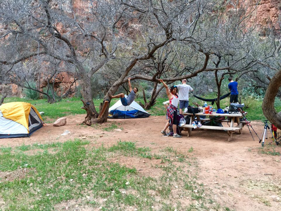 Our campsite set-up at the Havasupai Falls Campground.