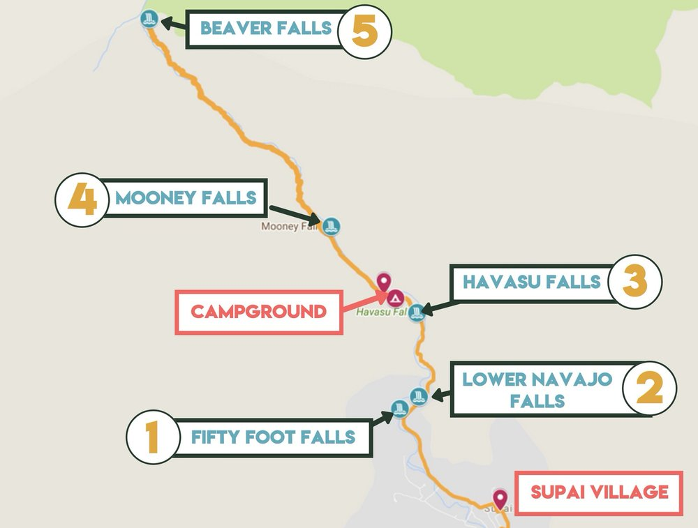 Supai Arizona Map.Your Ultimate Guide To The Havasu Falls Hike In 2019 Backpacking