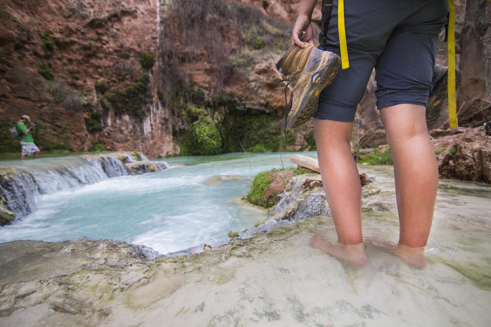 Hiking with my shoes off in Havasu Creek